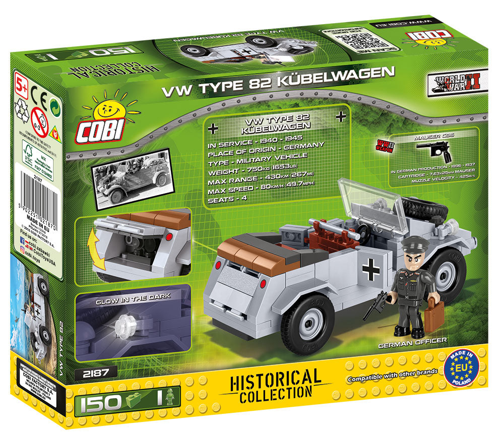 VW Type 82 Kubelwagen, 150 Piece Block Kit By Cobi Box Back