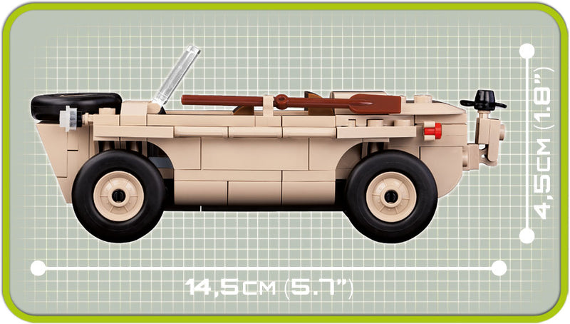 VW Type 166 Schwimmwagen, 120 Piece Block Kit By Cobi Side Dimensions