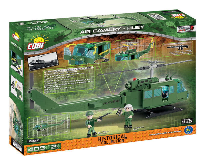 Air Cavalry Huey Helicopter, 405 Piece Block Kit By Cobi Back Of Box