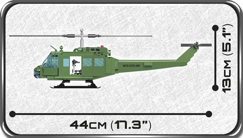 Air Cavalry Huey Helicopter, 405 Piece Block Kit By Cobi Side View Dimensions