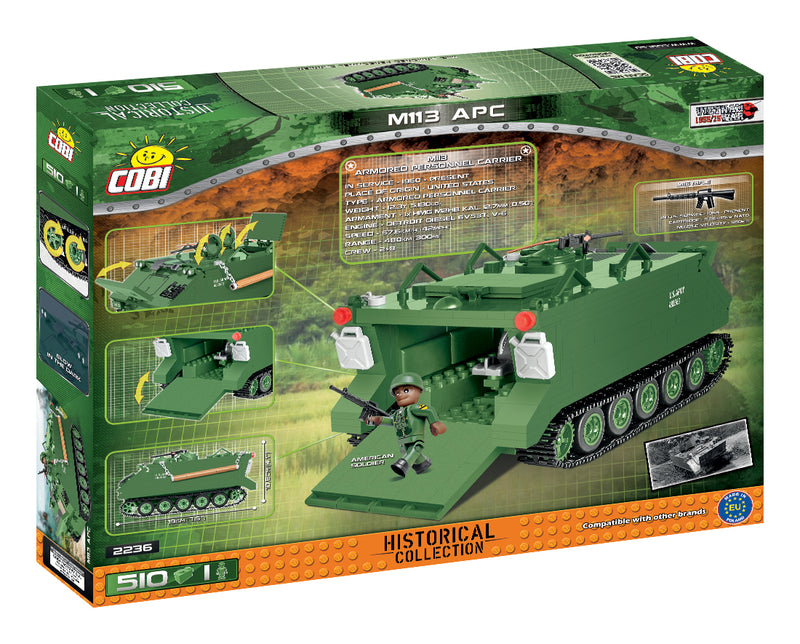 M113 Armored Personnel Carrier, 510 Piece Block Kit By Cobi Back Of Box