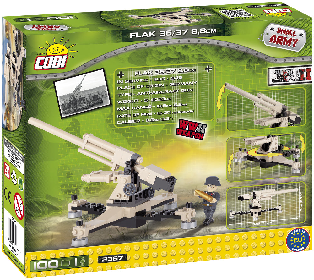 Flak 36/37 8.8 cm Anti-Aircraft Gun, 100 Piece Block Kit By Cobi Back Of Box
