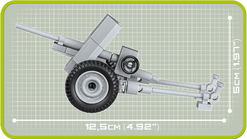 3.7 cm PaK 36 Anti-Tank Cannon, 55 Piece Block Kit Side View Dimensions