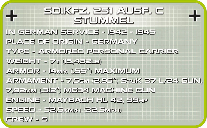 Sd.Kfz 251/9 Ausf. C Stummel Halftrack, 460 Piece Block Kit By Cobi Information