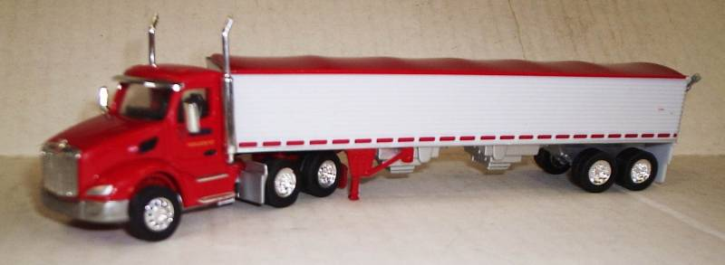 Peterbilt 579 Day Cab (Red), Cerri Feed Grain Trailer (White, Red Trim)  Scale 1:87 (HO Scale) Model By Trucks N Stuff