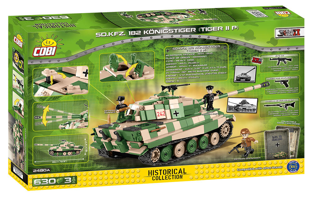 "Tiger II (PzKpfw VI B ""Konigstiger"") Porsche Turret,  630 Piece Block Kit By Cobi Box Back"