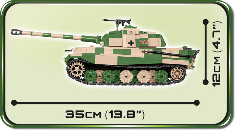 "Tiger II (PzKpfw VI B ""Konigstiger"") Porsche Turret,  630 Piece Block Kit By Cobi Side View Dimensions"