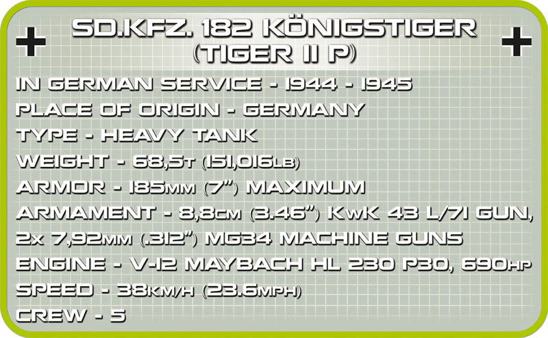 "Tiger II (PzKpfw VI B ""Konigstiger"") Porsche Turret,  630 Piece Block Kit By Cobi Specifications"