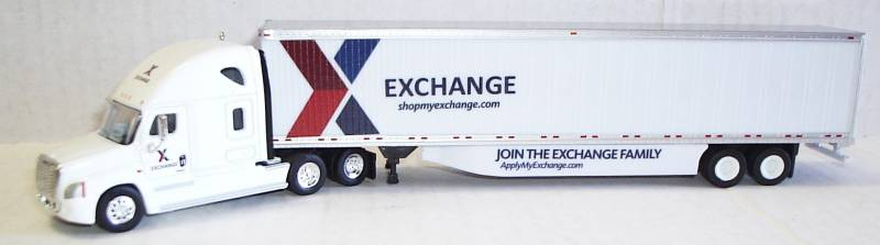 "Freightliner Cascadia Sleeper Cab (White) w/ ""Exchange"" Logo 53' Dry Van Trailer (White) 1:87 (HO) Scale Model By Trucks N Stuff"