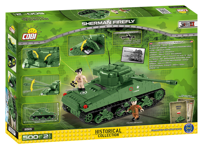 Sherman Firefly Tank, 500 Piece Block Kit By Cobi Back Of Box