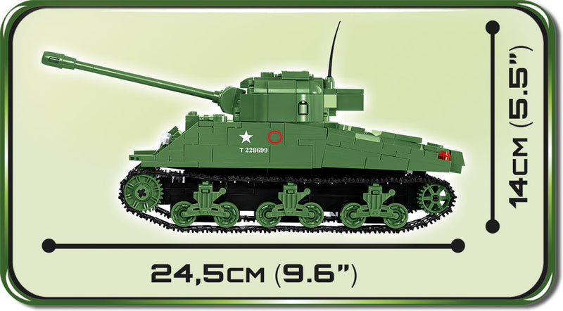 Sherman Firefly Tank, 500 Piece Block Kit By Cobi Side Dimensions