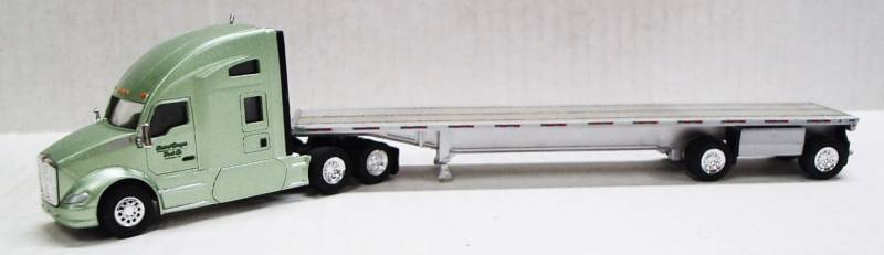 Kenworth T680 Sleeper Cab (Metallic Light Green) Central Oregon W/ Spread Axle Flatbed, 1:87 (HO Scale) Model by Trucks N Stuff