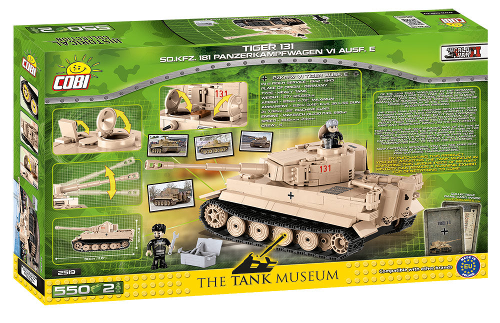 Tiger I (PzKpfw VI Ausf. E) German Heavy Tank #131, 550 Piece Block Kit By Cobi Box Back