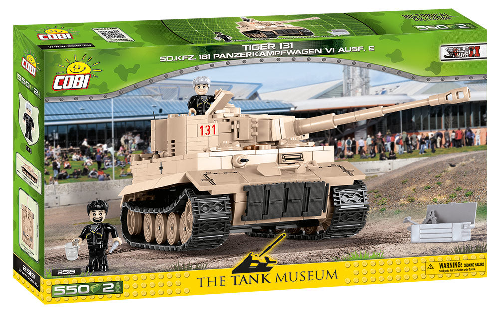 Tiger I (PzKpfw VI Ausf. E) German Heavy Tank #131, 550 Piece Block Kit By Cobi Box Front