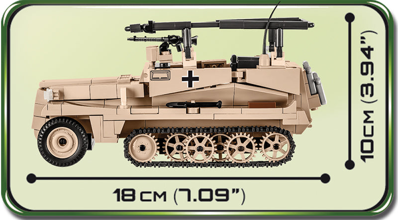 Sd.Kfz 250/3 Command Halftrack, 426 Piece Block Kit Left Side View Dimensions