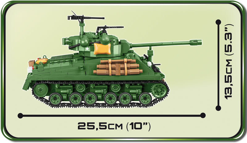 "M4A3E8 ""Easy Eight""  Sherman Tank  725 Piece Block Kit Side View"