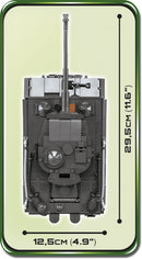 Tiger I Panzer VI Ausf. E Tank, 800 Piece Block Kit Top View Dimensions