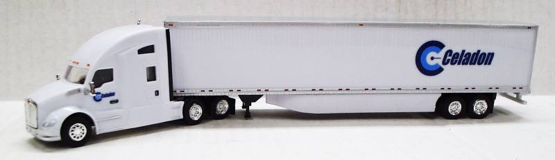 Kenworth T680 Sleeper Cab (White) W/ 53' Dry Van, Celadon Trucking Livery, 1:87 (HO) Scale Model  By Trucks N Stuff