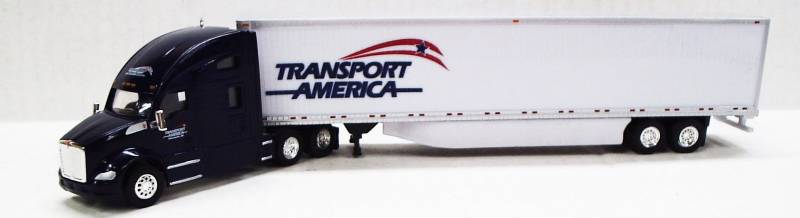Kenworth T680 Sleeper Cab (Black) W/ 53' Dry Van, Transport America Livery, 1:87 (HO) Scale Model By Trucks N Stuff