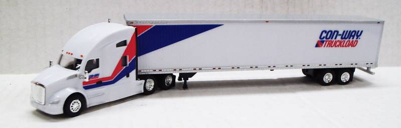 Kenworth T680 Sleeper Cab (White) W/ 53' Dry Van Con-way Truckload Livery, 1:87 (HO) Scale Model By Trucks N Stuff