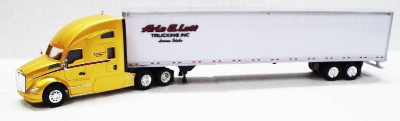 Kenworth T680 Sleeper Cab (Yellow) W/ 53' Dry Van Arlo G Lott Trucking Livery, 1:87 (HO) Scale Model By Trucks N Stuff