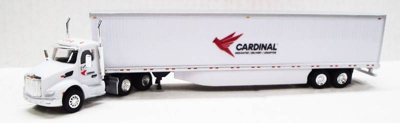 Peterbilt 579 Day Cab (White) Cardinal Logistics Logo w/ 53' Dry Van, 1:87 (HO) Scale Model By Trucks N Stuff