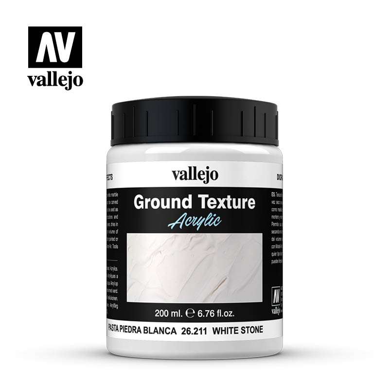 White Stone Acrylic Diorama Effects Ground Texture 200 ml Bottle By Acrylicos Vallejo