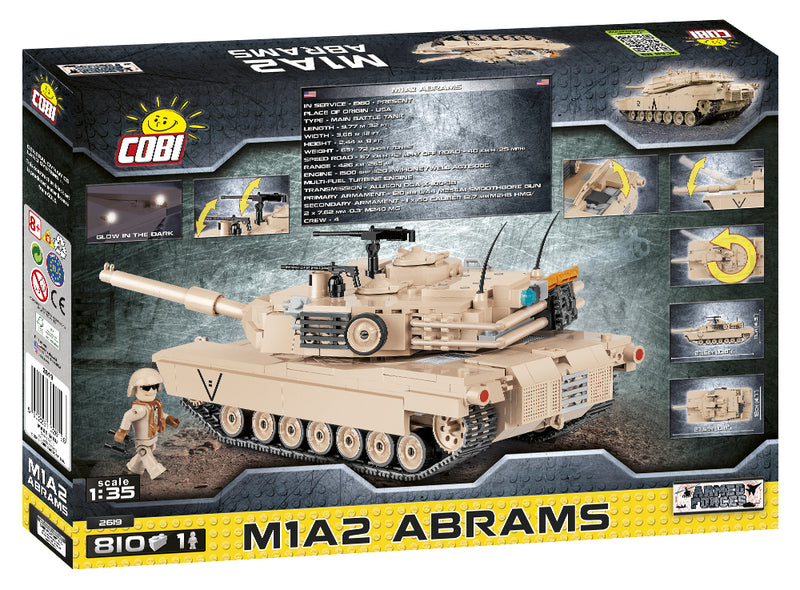 M1A2 Abrams Main Battle Tank, 810 Piece Block Kit By Cobi Back Of Box