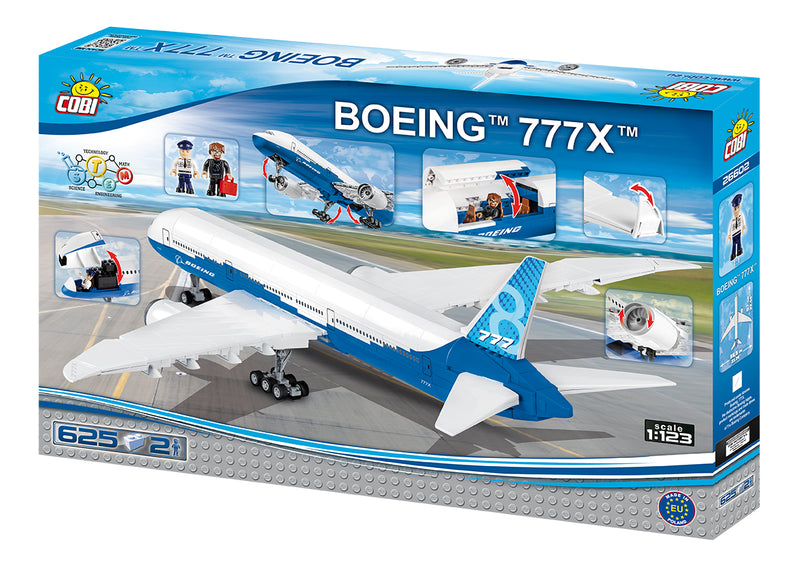 Boeing 777X, 625 Piece Block Kit By Cobi Back Of Box