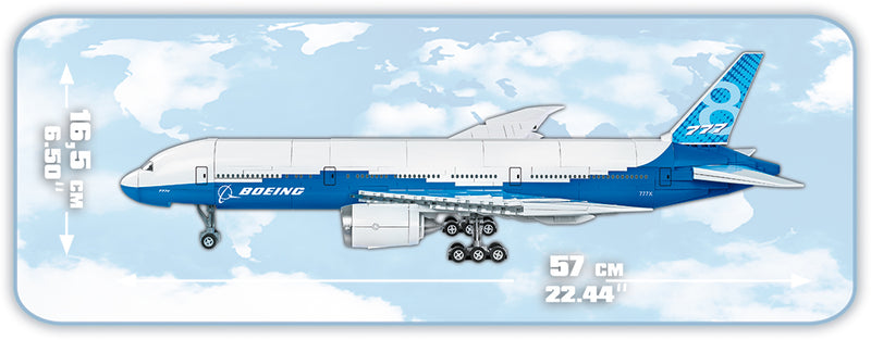 Boeing 777X, 625 Piece Block Kit By Cobi Side View Dimensions