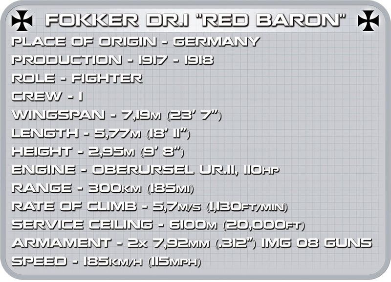 Fokker Dr.1 Red Baron, 175 Piece Block Kit By Cobi Specifications