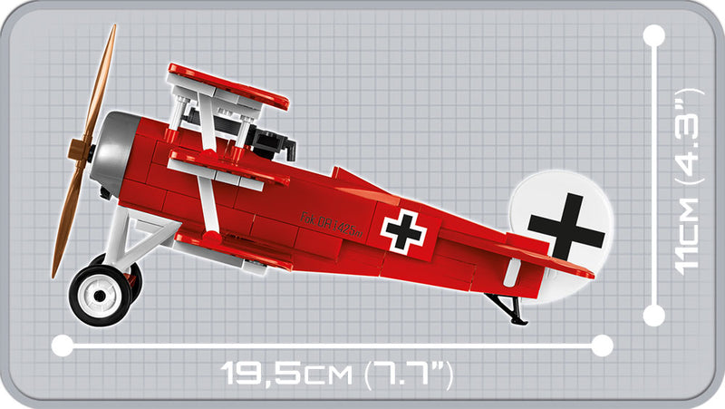Fokker Dr.1 Red Baron, 175 Piece Block Kit By Cobi Side View Dimensions