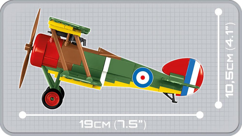 Sopwith F.1 Camel , 170 Piece Block Kit By Cobi Side View Dimensions