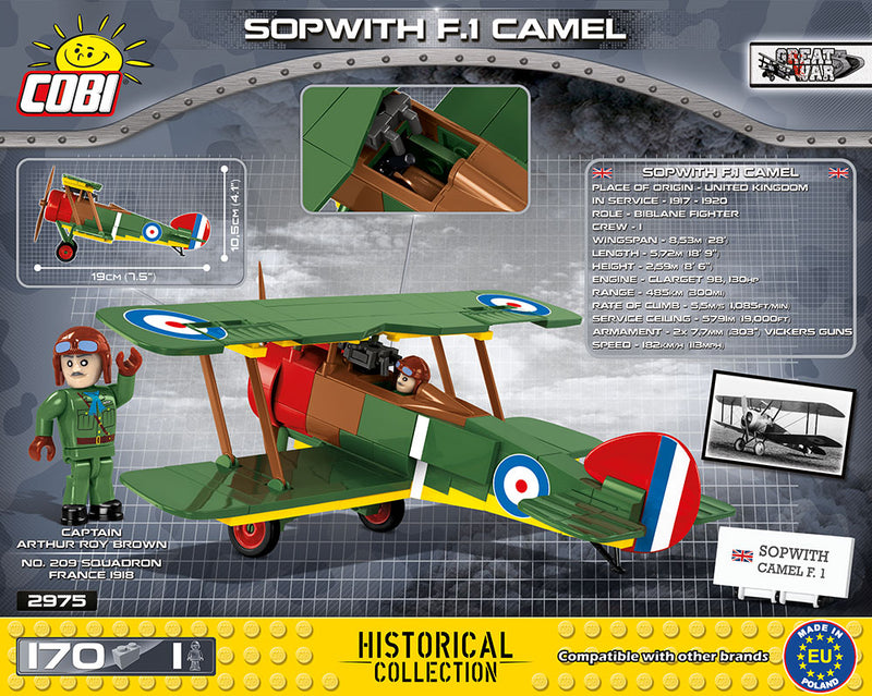 Sopwith F.1 Camel , 170 Piece Block Kit By Cobi Back Of Box