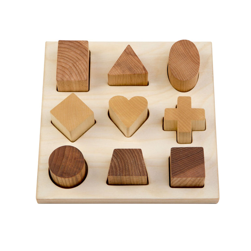 Natural Colored Shape Puzzle Board By Wooden Story