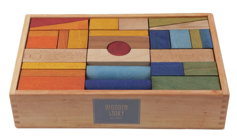 Rainbow Colored Blocks In Extra Large Tray - 63 pcs By Wooden Story