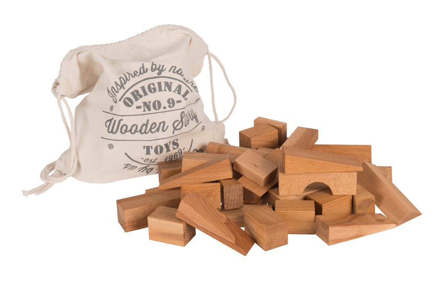 Natural Colored Extra Large Blocks In Sack - 50 pcs By Wooden Story