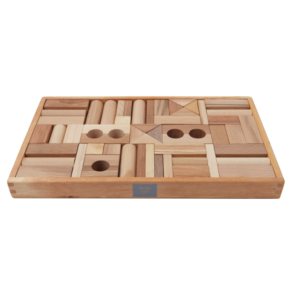 Natural Colored Blocks In Tray - 54 pcs By Wooden Story