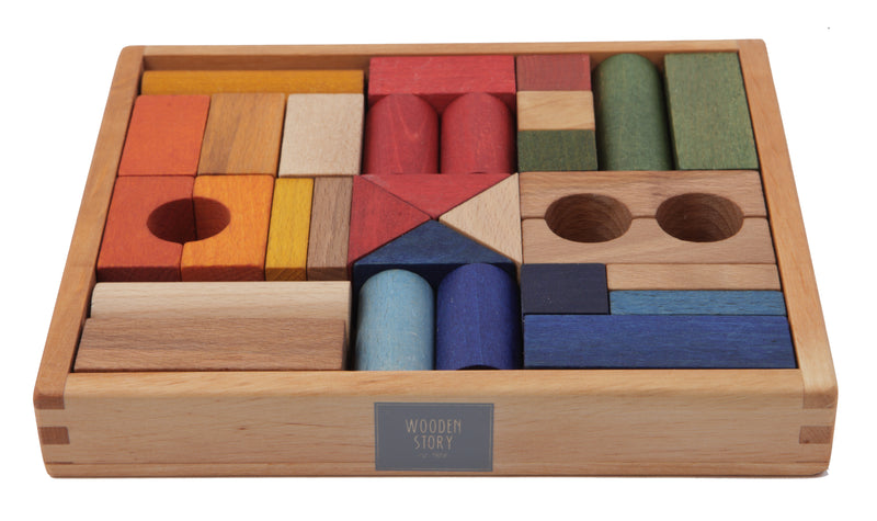Wooden Story Rainbow Blocks 30 pcs in tray