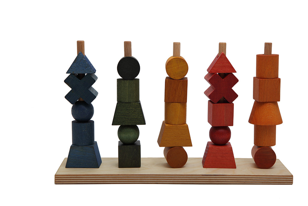 Rainbow Colored Wood Stacking Toy By Wooden Story