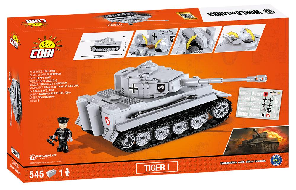 World Of Tanks Tiger I Heavy Tank, 545 Piece Block Kit By Cobi Box Back