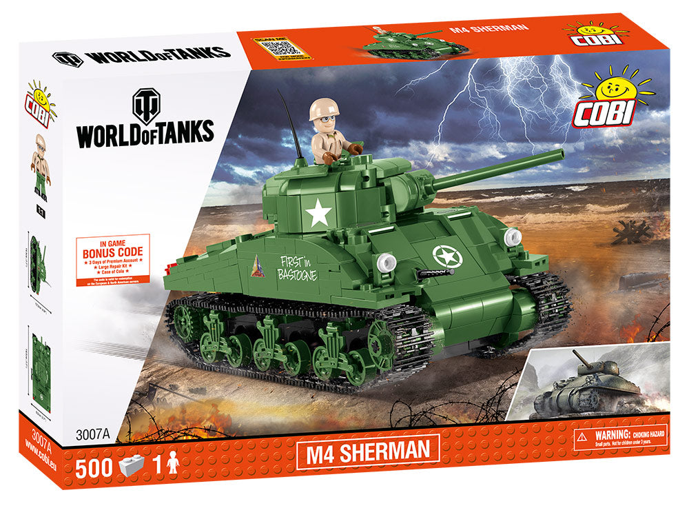 World Of Tanks M4 Sherman Tank, 500 Piece Block Kit By Cobi Box Front