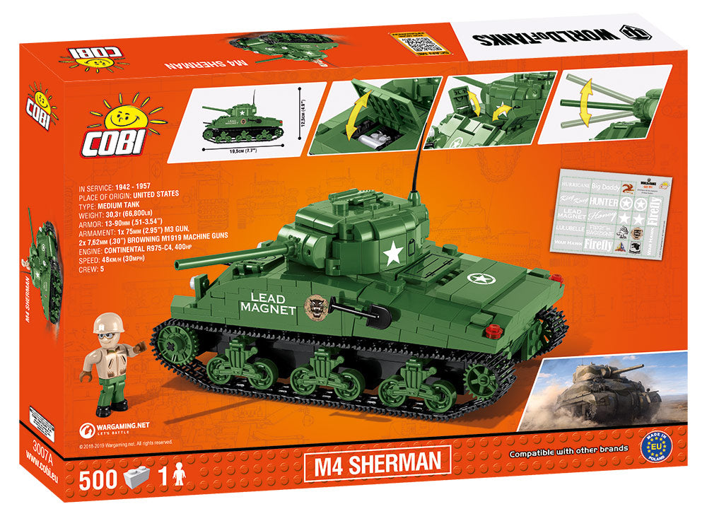 World Of Tanks M4 Sherman Tank, 500 Piece Block Kit By Cobi Box Back