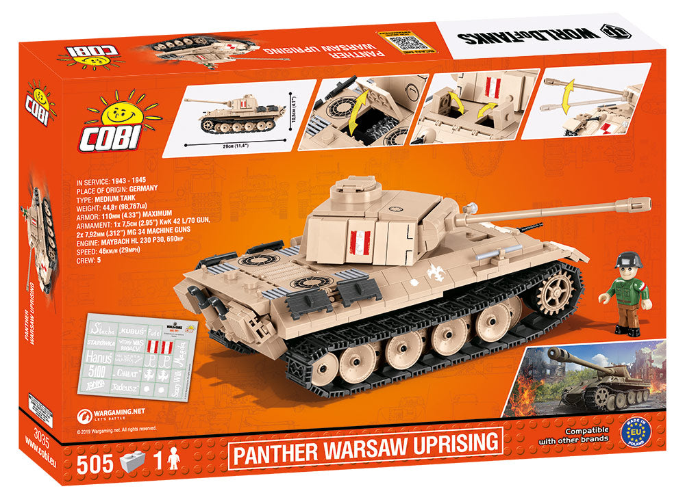 World Of Tanks Panther Tank (Warsaw Uprising), 505 Piece Block Kit By Cobi Box Back
