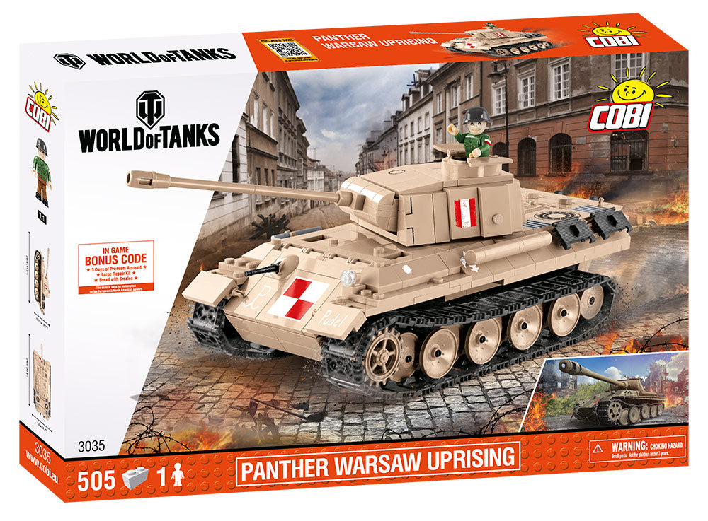 World Of Tanks Panther Tank (Warsaw Uprising), 505 Piece Block Kit By Cobi Box Front