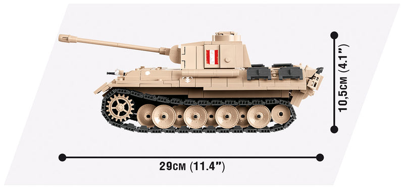 World Of Tanks Panther Tank (Warsaw Uprising), 505 Piece Block Kit By Cobi Side View Dimensions