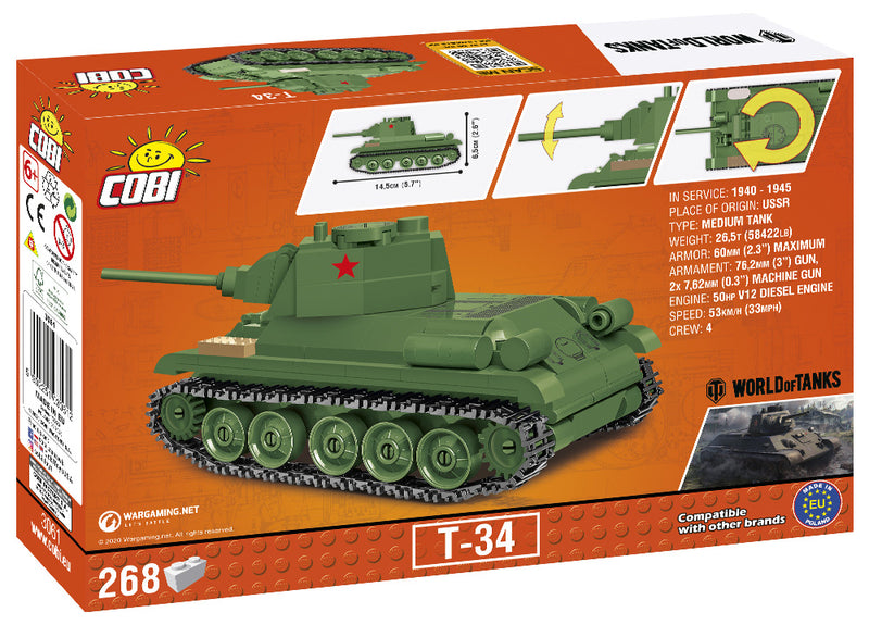 World Of Tanks T-34/76 Tank, 1:48 Scale 268 Piece Block Kit Back Of The Box