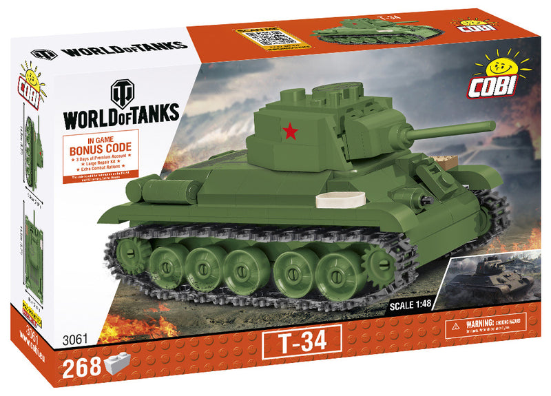 World Of Tanks T-34/76 Tank, 1:48 Scale 268 Piece Block Kit By Cobi
