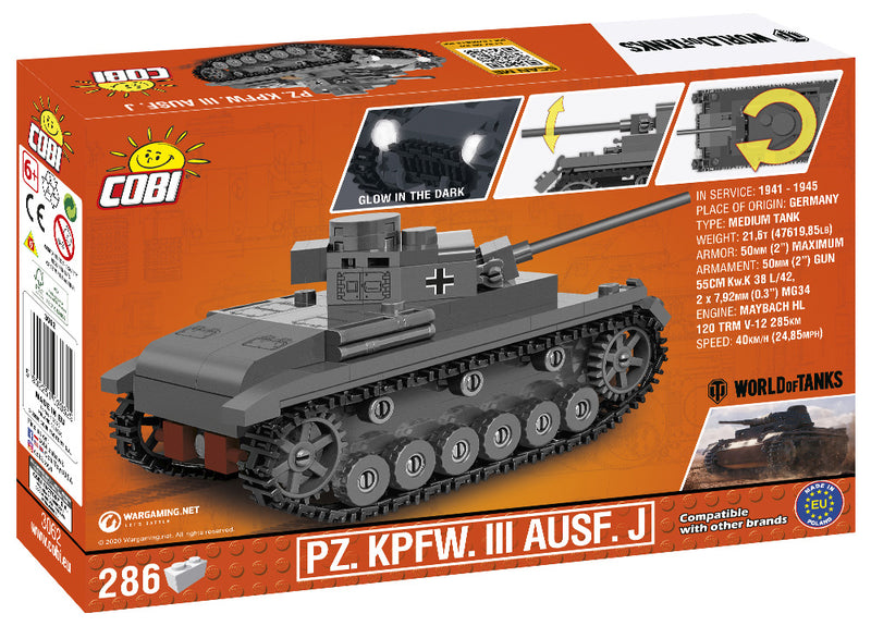 World Of Tanks Panzer III Ausf. J, 1:48 Scale 286 Piece Block Kit Back Of Box