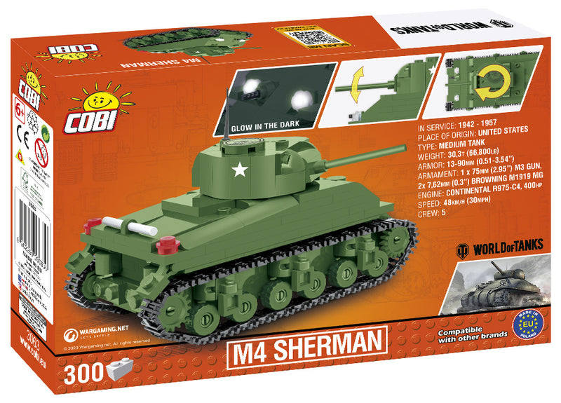 World Of Tanks M4 Sherman Tank, 1:48 scale 300 Piece Block Kit Back Of Box